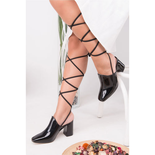 Couture Di Pari Rope Detail Black Patent Leather Heeled Shoes - Couture Di Pari