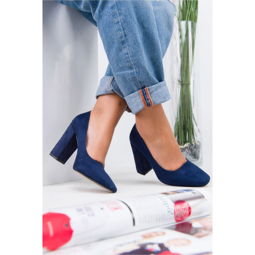 Women's Navy Blue Suede Heeled Shoes - Couture Di Pari
