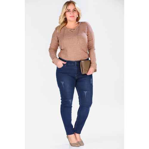 Plus Size Navy Blue Jeans
