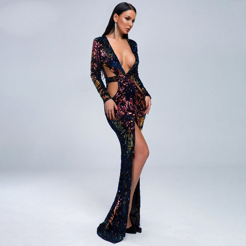 Deep Plunge V Neck Mid Split Sequin Side Cut Out Maxi Club Dress - Couture Di Pari