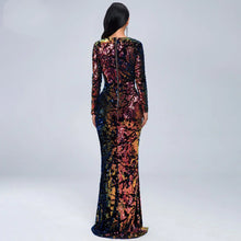 Load image into Gallery viewer, Deep Plunge V Neck Mid Split Sequin Side Cut Out Maxi Club Dress - Couture Di Pari