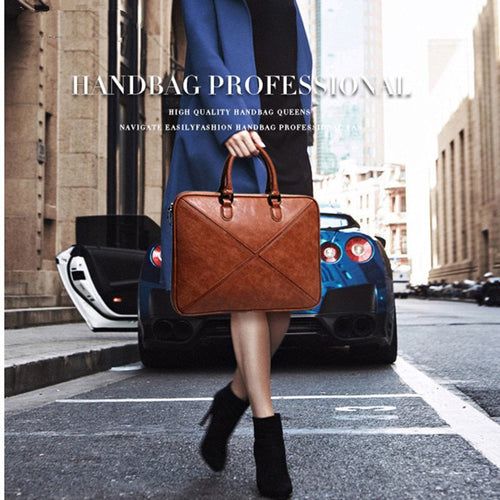 New Style Slim Business Leather Handbag - Couture Di Pari