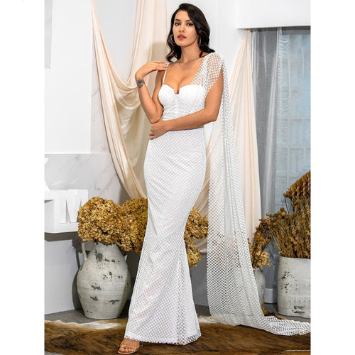 White Plaid Attached Shawl Beaded Bodycon Maxi Dress