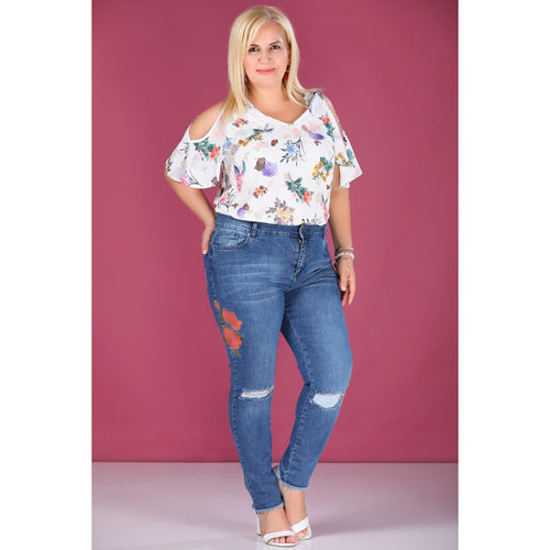 Couture Di Pari Plus Size Embroidered Blue Jeans - Couture Di Pari