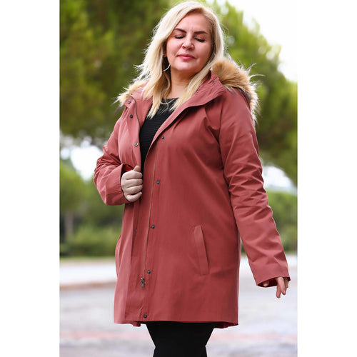 Couture Di Pari Oversize Fur Tile Red Trenchcoat - Couture Di Pari