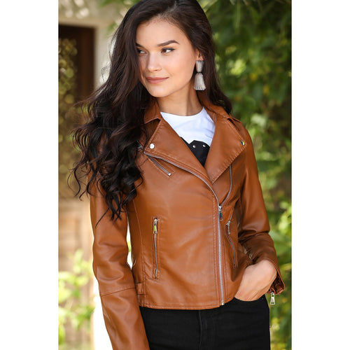 Couture Di Pari Zipped Ginger Leather Jacket - Couture Di Pari