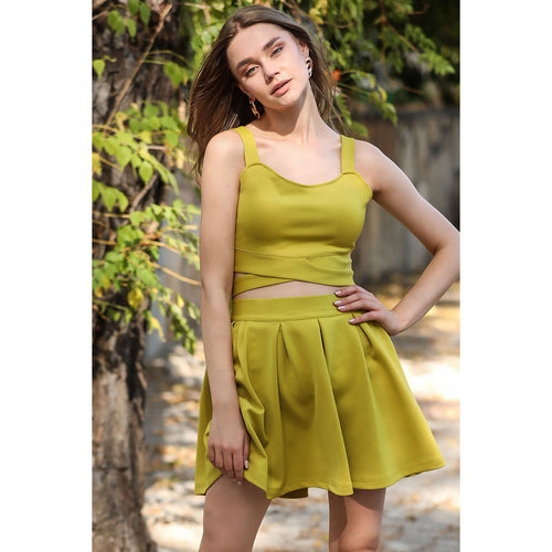 Chartreuse Crop Top Blouse Skirt Set