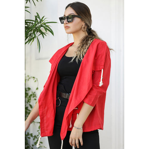 Couture Di Pari Lace-up Detail Red Jacket - Couture Di Pari