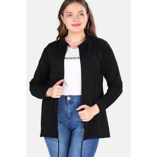 Couture Di Pari Oversize Zipped Black Jacket - Couture Di Pari