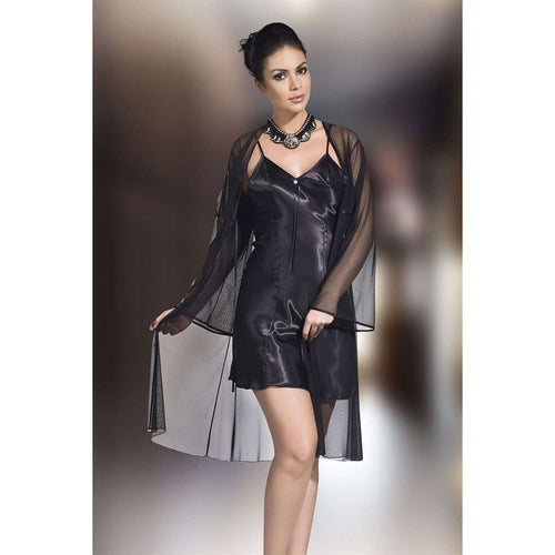 Couture Di Pari Black Satin Nightgown & Morning Robe Set - Couture Di Pari