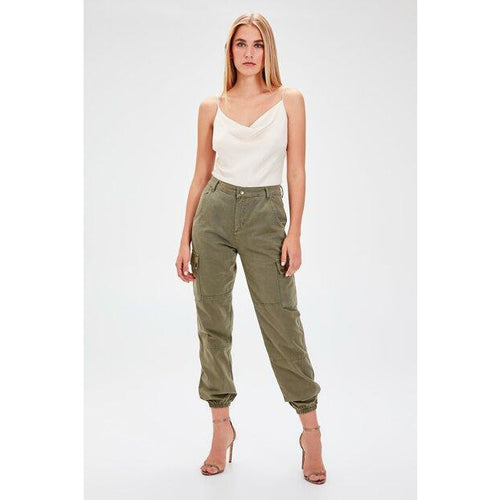 Women's High Waist Pocket Khaki Cargo Jeans