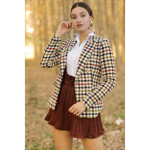 Button Down Patterned Casual Blazer - Couture Di Pari
