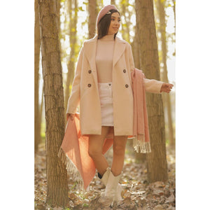 Rose Button Down Lined Casual Coat - Couture Di Pari