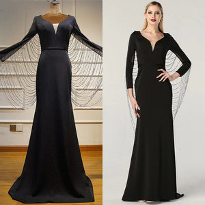 Luxury Beading Tassel Design V-Neck Fromal Evening Gown - Couture Di Pari