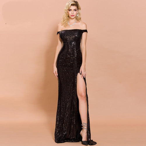 Bandeau Sequin High Split Backless Maxi Little Black Dress - Couture Di Pari