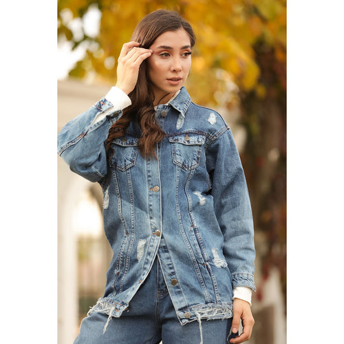 Couture Di Pari Ripped Navy Blue Denim Jacket - Couture Di Pari