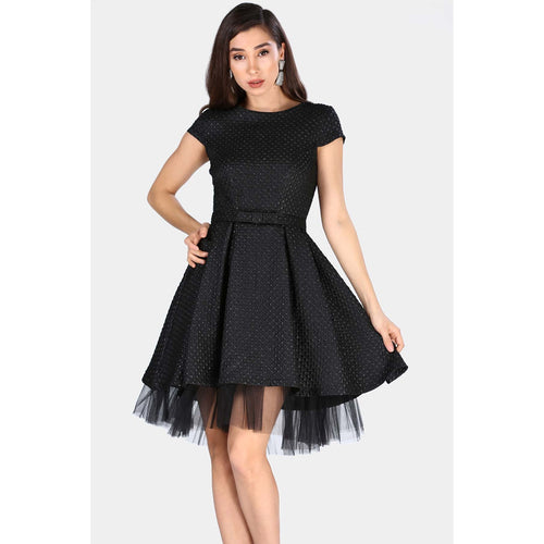 A Line Belted Tulle Detail Little Black Dress - Couture Di Pari