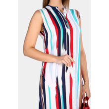 Load image into Gallery viewer, Multi-color Striped Sleeveless Midi Dress - Couture Di Pari