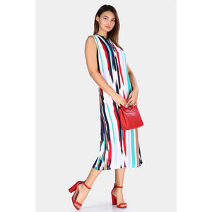 Multi-color Striped Sleeveless Midi Dress - Couture Di Pari