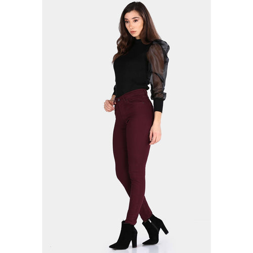 Couture Di Pari Zipped Damson Jeans Pants - Couture Di Pari