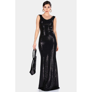 Cold Shoulder Detailed Collar Bodycon Evening Dress - Couture Di Pari