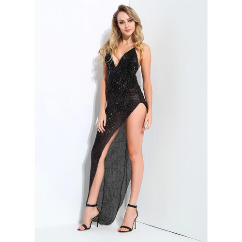 Black V-Neck Open Back Side Cut Out Maxi Club Dress - Couture Di Pari