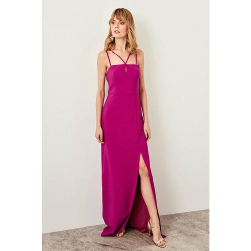 Strappy Neckline Design Maxi Evening Dress - Couture Di Pari