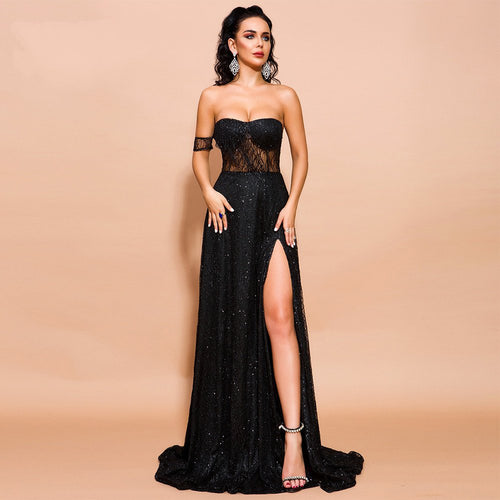 Bardot Off Shoulder Thigh High Split Maxi Little Black Dress - Couture Di Pari