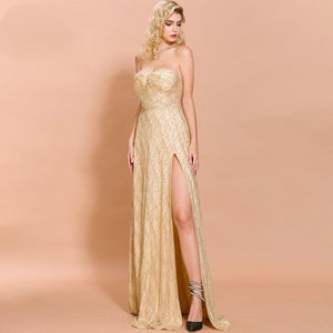 Bardot Gold Off Shoulder Thigh High Split Maxi Club Dress - Couture Di Pari