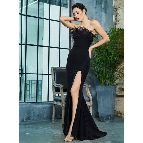 Bardot Cut Out Feather Design Maxi Little Black Dress - Couture Di Pari