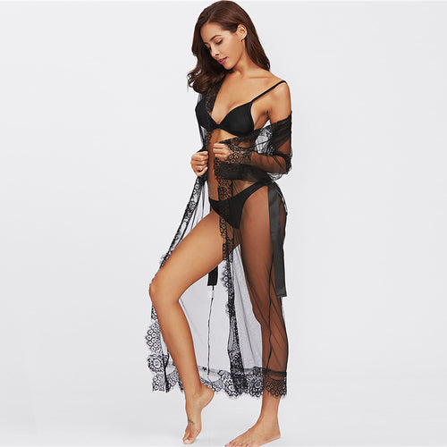 Eyelash Black Lace Trim Mesh With Belt Sleepwear Robe - Couture Di Pari