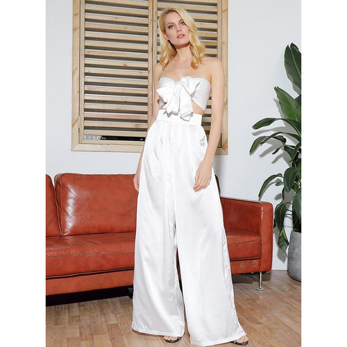 White High Waist Wide Leg Crop Top Pants Set - Couture Di Pari
