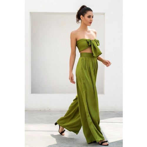 Green High Waist Wide Leg Crop Top Pants Set - Couture Di Pari