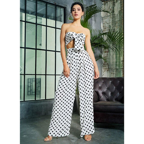 Polka Dot Wide Legs Two-Pcs Crop Top Pants Set - Couture Di Pari