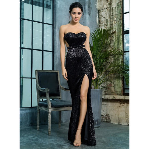 Bardot Open Back Pleated Sequin Thigh Split Little Black Dress - Couture Di Pari