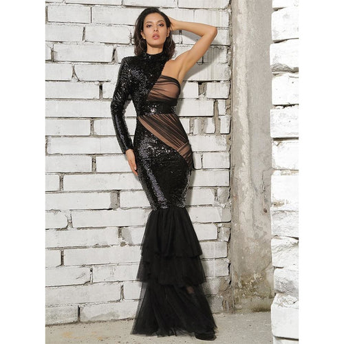 Cut Out Mesh Detail Mermaid Sequin Little Black Dress - Couture Di Pari