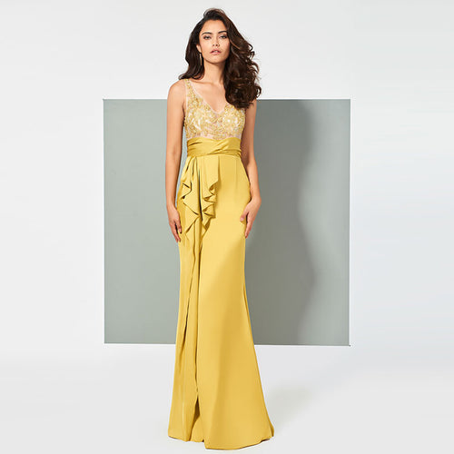 V-Neck Appliques Ruffles Sleeveless Sheath Evening Dress - Couture Di Pari