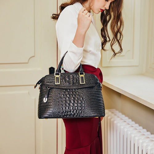 Genuine Crocodile Embossed Leather Tote Bag - Couture Di Pari
