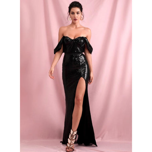 Bardot Shoulder Drop Sleeve Sequin High Split Little Black Dress - Couture Di Pari