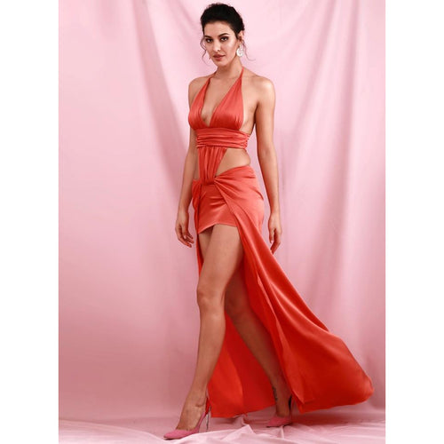 Red V-Neck Open Back Cut Out Split Maxi Club Dress - Couture Di Pari