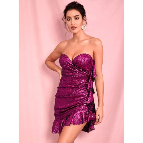 Bardot Red Rose Sequin Bodycon Mini Club Dress - Couture Di Pari