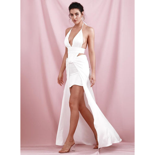 White V-Neck Open Back Cut Out Put Split Maxi Club Dress - Couture Di Pari
