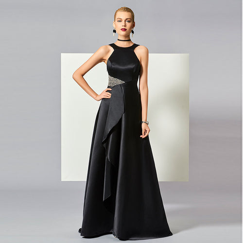 Halter Neck Backless Beading Ruched A Line Evening Dress - Couture Di Pari