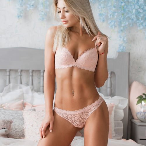 Wire Free Lace Push up Comfortable Bra Panty Set - Couture Di Pari