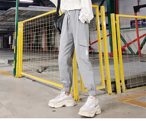 Bright Gray and Balck Cargo Pants