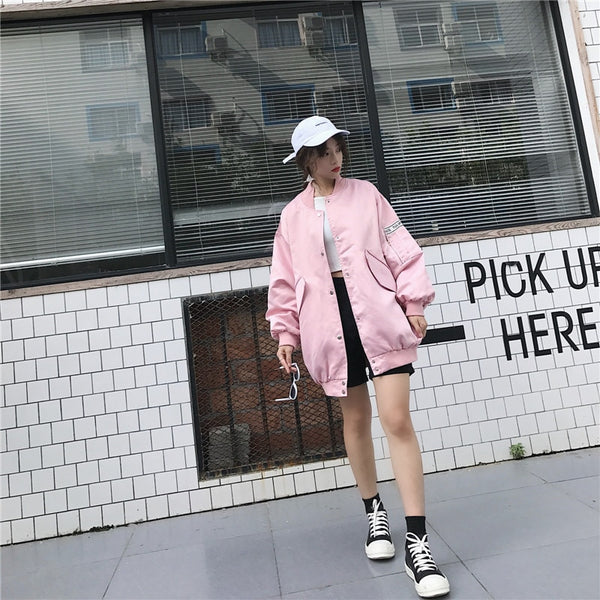 Speak Bomber Jacket - PINK, BLACK