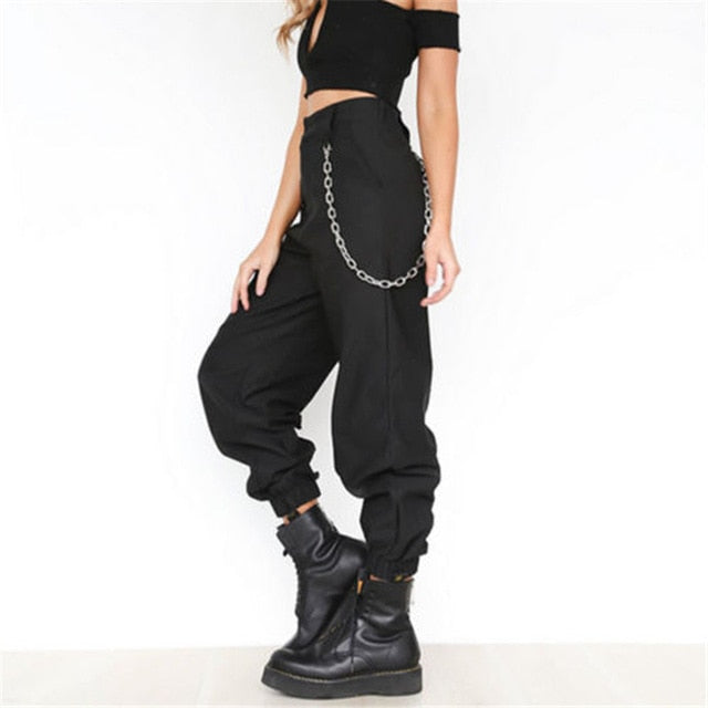High Waist Black /Kheki Cargo Pants