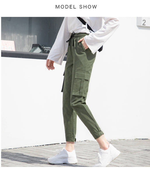 Harajuku Stylish Cargo Pants - BLACK, GREEN