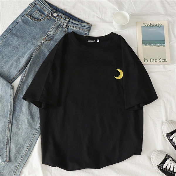 Embroidered Printed Cloud Moon T-Shirts - WHITE, BLACK, PINK, BLUE, PURPLE