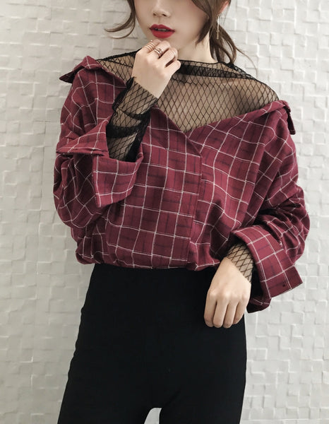 Korean Trendy Loose Mesh Shirts
